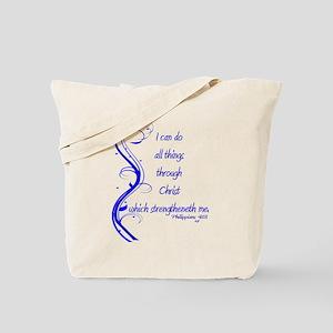 Philippians 413 Blue Vines Tote Bag