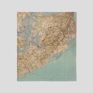Vintage Map of Staten Island (1891) Throw Blanket