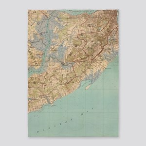 Vintage Map of Staten Island (1891) 5'x7'Area Rug