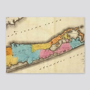 Vintage Map of Suffolk New York (18 5'x7'Area Rug