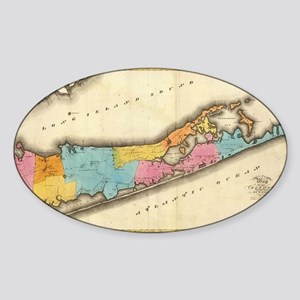 Vintage Map of Suffolk New York (18 Sticker (Oval)