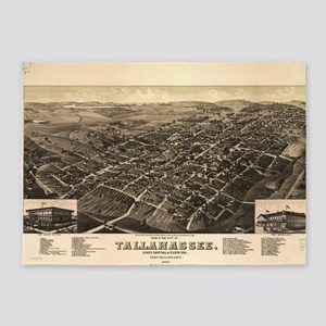 Vintage Pictorial Map of Tallahasse 5'x7'Area Rug