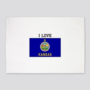 I Love Kansas 5'x7'Area Rug