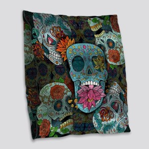 Sugar Skulls Design Burlap Throw Pillow