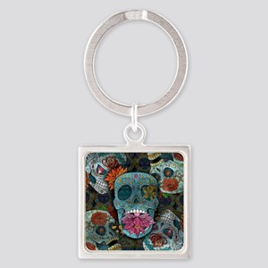 Sugar Skulls Design Square Keychain