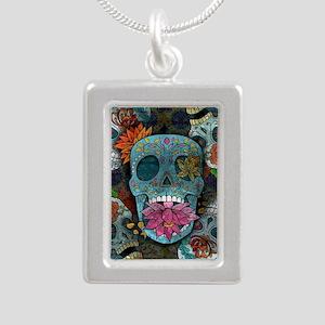 Sugar Skulls Design Silver Portrait Necklace