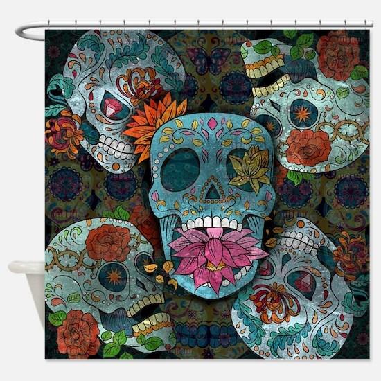 Sugar Skulls Design Shower Curtain