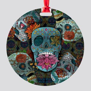 Sugar Skulls Design Round Ornament