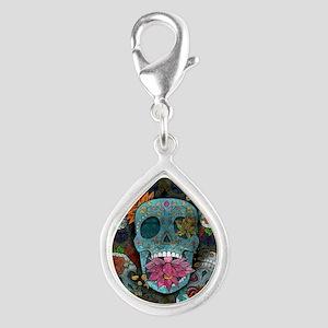 Sugar Skulls Design Silver Teardrop Charm