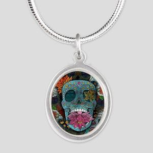 Sugar Skulls Design Silver Oval Necklace