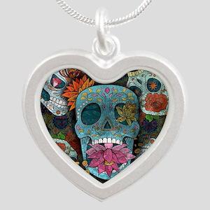 Sugar Skulls Design Silver Heart Necklace