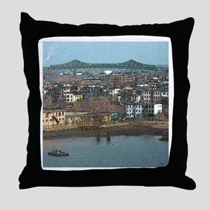 Mystic River's Tobin Bridge Throw Pillow