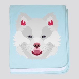 Illustration dogs face Finnish Lapphu baby blanket