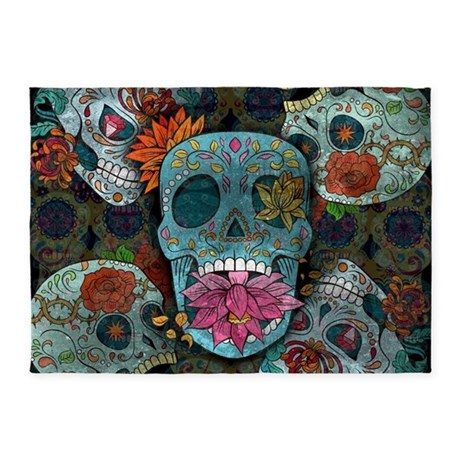 Sugar Skulls Design 5 X7 Area Rug