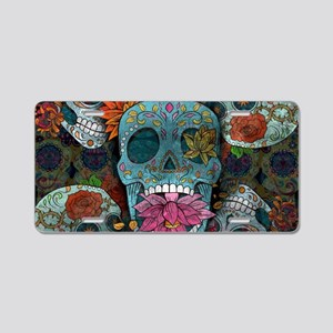 Sugar Skulls Design Aluminum License Plate