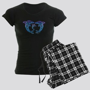 Tribal Dolphin Famiy Women's Dark Pajamas
