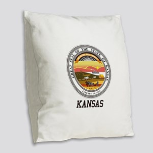 Kansas State Seal Burlap Throw Pillow
