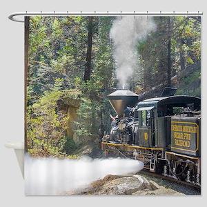 Steam Locomotive in the Forest Shower Curtain