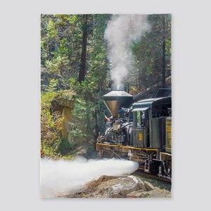 Steam Locomotive in the Forest 5'x7'Area Rug