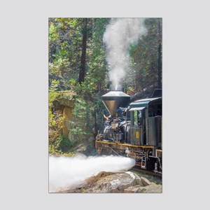 Steam Locomotive in the Forest Mini Poster Print