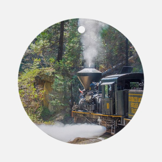 Steam Locomotive in the Forest Ornament (Round)