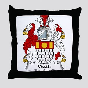 Watts Family Crest Throw Pillow