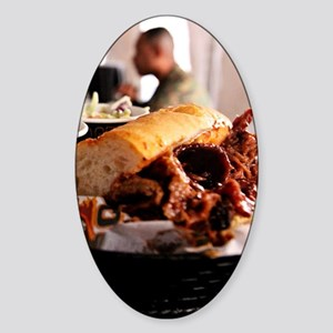 BBQ Beef Brisket Sandwich Sticker (Oval)