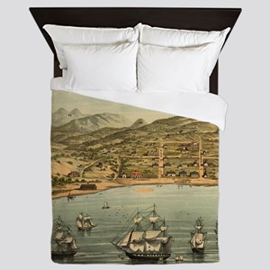 Vintage Pictorial Map of San Francisco Queen Duvet
