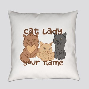 Personalized Cat Lady Everyday Pillow