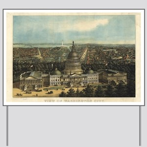 Vintage Pictorial Map of Washington D.C. Yard Sign