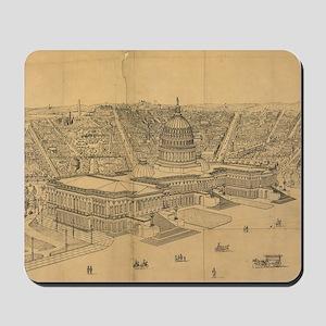 Vintage Pictorial Map of Washington D.C. Mousepad