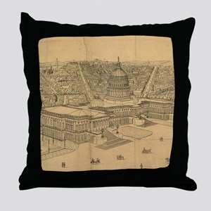 Vintage Pictorial Map of Washington D Throw Pillow