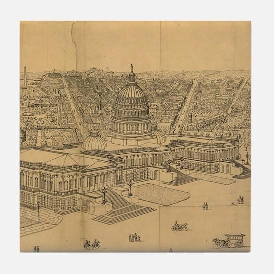 Vintage Pictorial Map of Washington D Tile Coaster