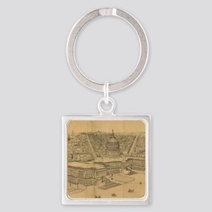 Vintage Pictorial Map of Washingto Square Keychain