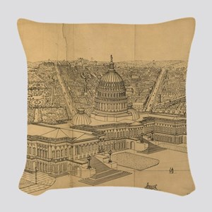 Vintage Pictorial Map of Washi Woven Throw Pillow