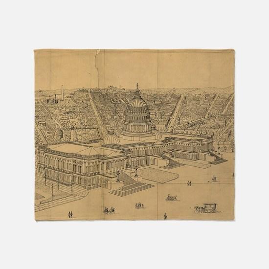 Vintage Pictorial Map of Washington  Throw Blanket