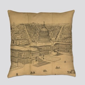 Vintage Pictorial Map of Washingto Everyday Pillow