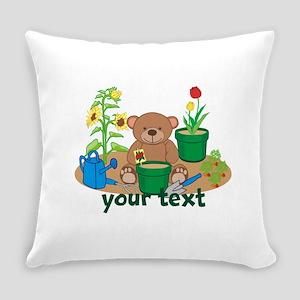 Personalized Garden Teddy Bear Everyday Pillow