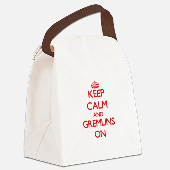 Keep Calm and Gremlins ON Canvas Lunch Bag