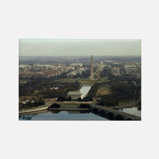 Washington DC Aerial Photograph Rectangle Magnet