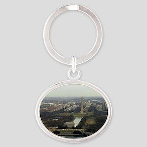 Washington DC Aerial Photograph Oval Keychain