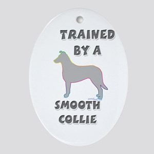 Smooth Collie Slvr Oval Ornament