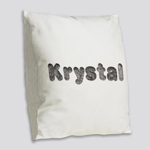 Krystal Wolf Burlap Throw Pillow