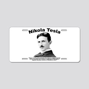 Tesla: Religion Aluminum License Plate
