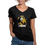 Walter Family Crest Women's V-Neck Dark T-Shirt
