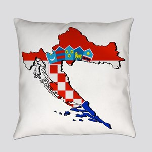 Flag Map of Croatia Everyday Pillow