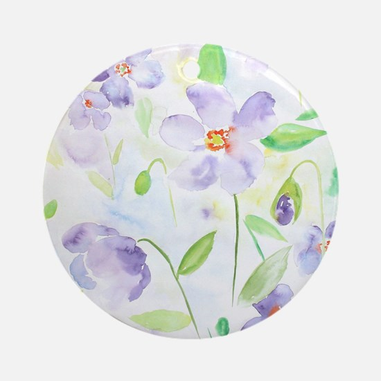 Watercolor Abstract Flower Poppy Round Ornament