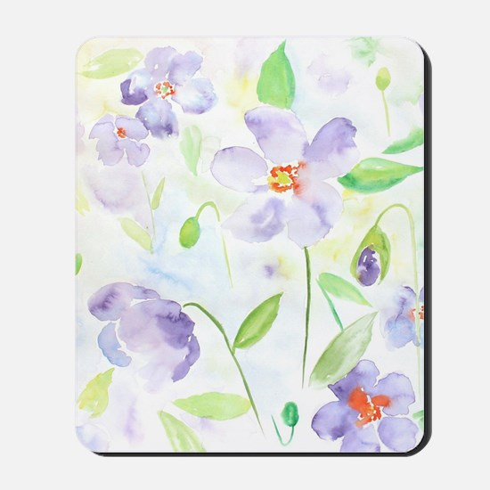 Watercolor Abstract Flower Poppy Mousepad