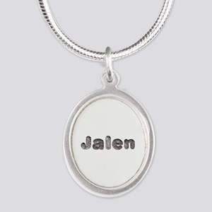 Jalen Wolf Silver Oval Necklace