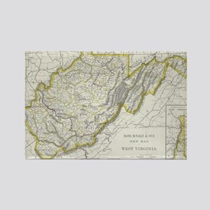 Vintage Map of West Virginia (188 Rectangle Magnet